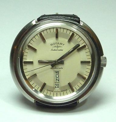 Vintage (1974) Rotary Stainless Steel 21 Jewel Auto Gents Wrist Watch (AS2066)
