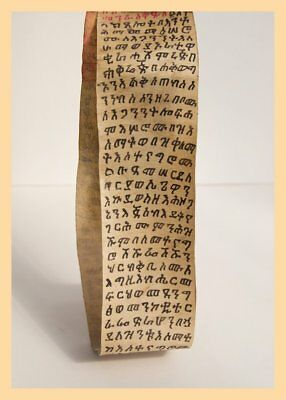 COPTIC SCROLL PARCHMENT - Ethiopian Scroll, Religious Text, Animal Hide. Africa