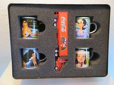 Germany Coca Cola 4x Espresso Mugs and Truck in Collectible Tin from German