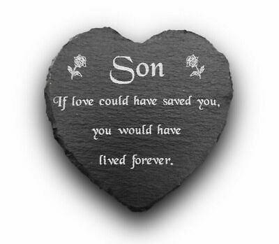 Engraved Natural Slate Heart Memorial Grave Marker Plaque for a Son