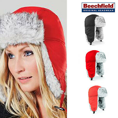 Beechfield Suprafleece Sherpa Hat -Quilted Lining Winter Thermal Trapper style