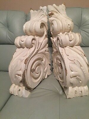 Antique Large Solid , Deeply Ornately Carved Wooden Corbels/Brackets rococo 1840