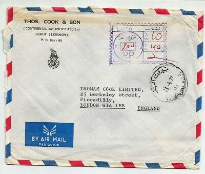 Lebanon 1977 Postage Due cover sent to England with PP Liban 200 pl, nice cover.