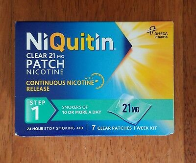 NIQUITIN CLEAR STEP 1 PATCHES 21mg  = 7 PATCHES   *** ONLY £8.75 ***