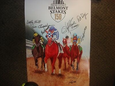 Belmont Stakes Triple Crown Signed Print Turcotte Cruguet Espinoza Krone Justify
