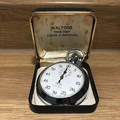Vintage SMITHS Made in England White/Blue Hands Shockproof Hand Wind Stopwatch
