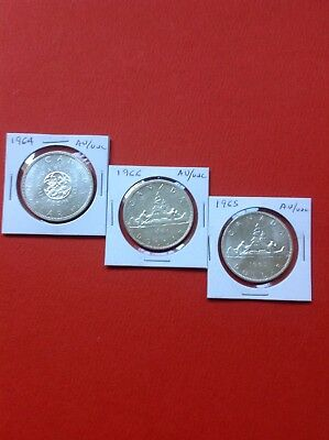3- Canadian Silver Dollars 1964-65-66 AU-UNC Nice Luster. Nice Coins For Auction