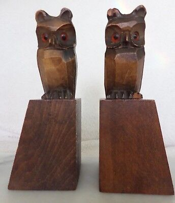 Vintage Black Forest Art Deco pair of owl bookends