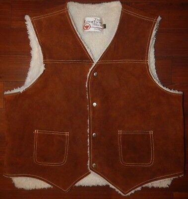Vintage The Leather Shop Suede Sears Vest Western Faux Sherpa XL USA