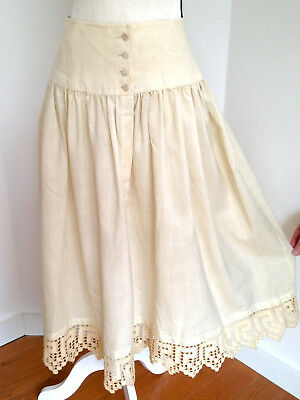 Antique Victorian White Wool Early Winter Petticoat Skirt