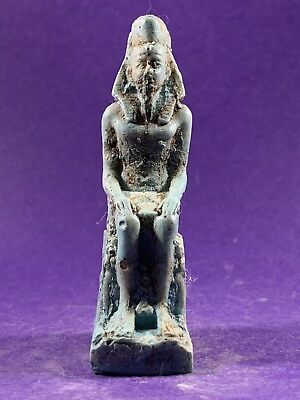 Very Beautiful - Circa 1370-770Bce Ancient Egyptian Pharaoh Seated Statuette