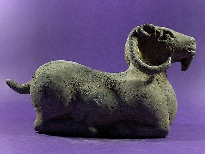 Gorgeous Circa 1200-800Bce Ancient Luristan Bronze Ram Sitting. Very Heavy.