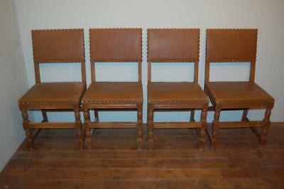 Antique Set Of Four Matching French Oak Dining Or Kitchen Chairs Original