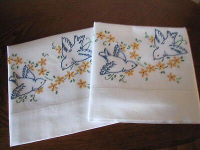 Vintage Pair of Pillowcases Embroidered Bluebirds & Aster Garlands Exquisite