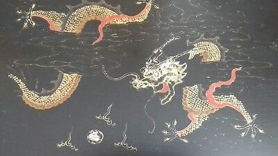 Vintage Chinese Hand Painted Black Lacquer Serving Tray. Dragon