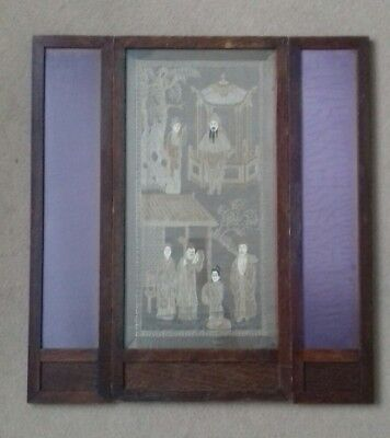 Small Antique Chinese Silk Hand Embroidered 3 Panel Screen