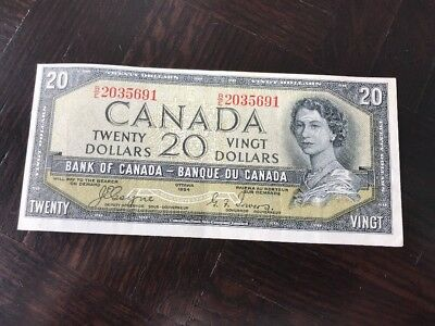 1954 $20 Devils Face Canadian Note Bill Authentic