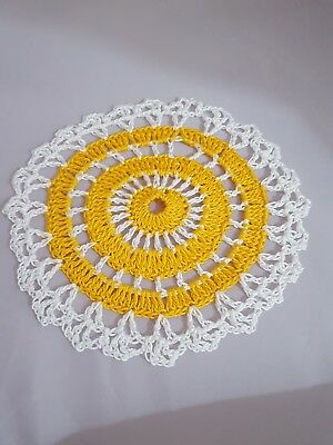 Golden Rod in White Bumblebee doily Approximately 5 Inches.