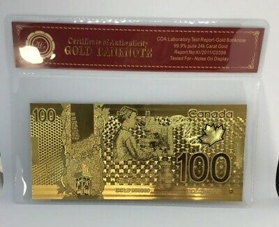 24KT GOLD Plated $100 BILL/ BANKNOTE CANADA *NO TAX + FREE SHIP* CANADIAN SELLER