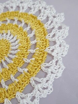 Metallic Yellow Gold in White Bumblebee doily Approximately 5 Inches.