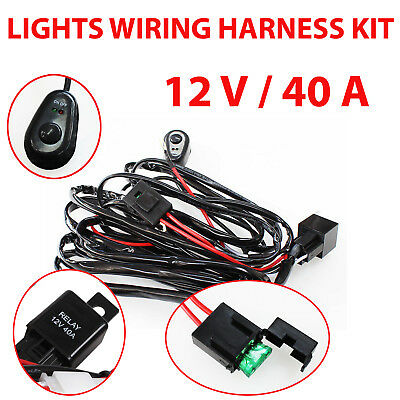 Led Hid Offroad Wiring Loom Harness Relay Switch Kit 12V 40A Bar Work Light