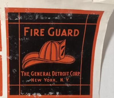 Rare Fire Guard, The General Detroit Corp ~ New York, NY Label