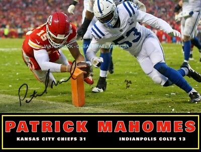 Kansas City Chiefs PATRICK MAHOMES Signed/Auotgraphed RP/AFC Playoffs 2019 Touch