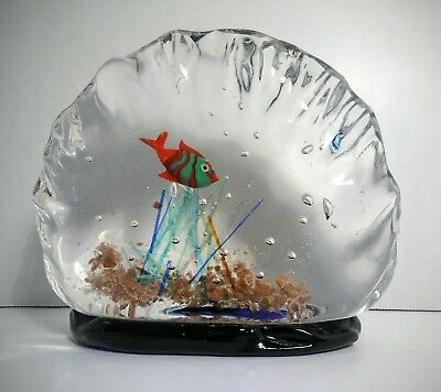 Vintage Murano Fish Bowl Aquarium Italian Hand Blown Art Glass Sculpture