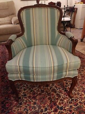 Vintage Ethan Allen French Carved Frame Upholstered Chair Light Blue Striped