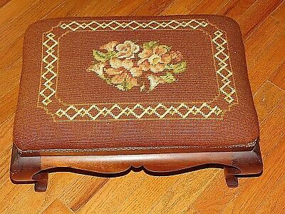Early  Needlepoint Cross Stitch Top Foot Stool Bench Rest Decor Seat Floral