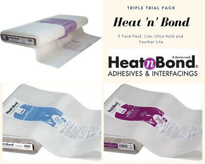 Heat 'n' Bond Triple Pack Adhesive (3 yards) contains Lite, Ultra Hold and Feath