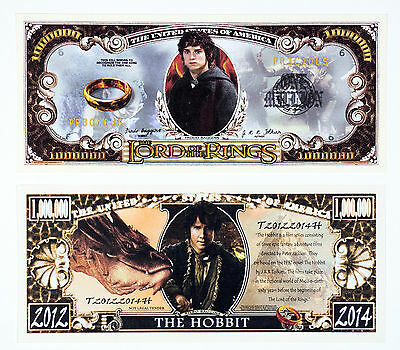 Set of 2 diff. US fantasy paper money The Hobbit and Lord of the Rings