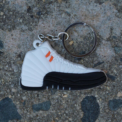 watch 4ca1a 0a67f Nike Air Jordan Retro 12 Taxi White Black Shoe Sneaker Keychain 130690-125
