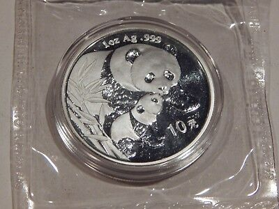 2004 Chinese  1 Troy Ounce Pure Silver Panda Coin  In Original Plastic