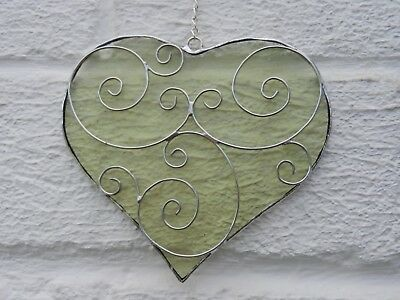 Hand crafted stained glass sun catcher. Filigree Heart.