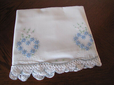 Vintage Single Pillowcase Embroidered & Crocheted Double Aster Hearts Wow