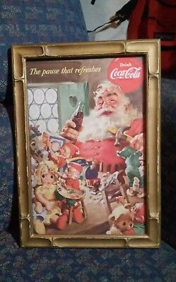 Antique,old 1953. Coca Cola print framed in period frame bout 10 x 7 w/ frame