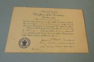 1933 National Society Daughters of the Revolution Signed Membership Certificate