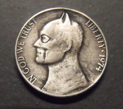 Hand Carved  Hobo nickel Batman  unsigned