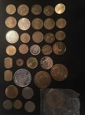 LOT 34 Arcade Transit Car Wash Coin Tokens Money Vietnam The Wall•Timex•desert S