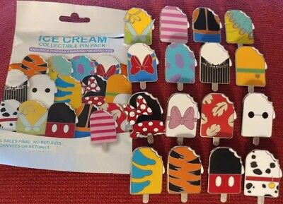 Disney Parks Ice Cream Treats Mystery Bag 16 Pin Complete Set Mickey Pluto Tink+