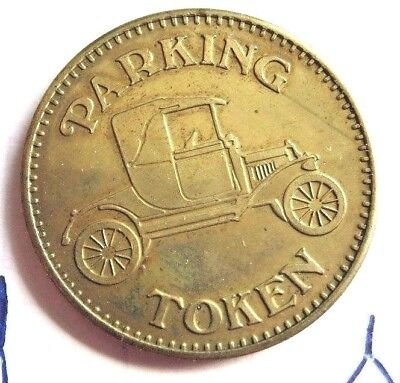 Vintage Brass Parking Token ~ Eagle and Convertible Auto