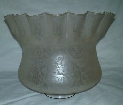Victorian   Glass / Crystal Etched Frilled  Lamp Shade