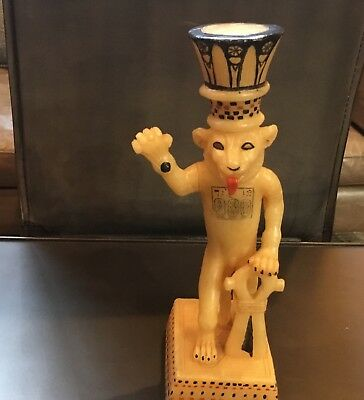 1978 Signed ancient Egyptian Alabaster King Tut Sculpture as a Lion