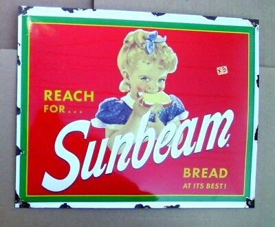 Sunbeam Bread At Its Best Enamel / Porcelain Store Sign X3