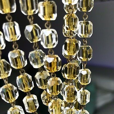 """Vtg Art Deco Cut Glass Necklace Lined Clear Yellow Topaz Givre Beads 48"""" Long"""