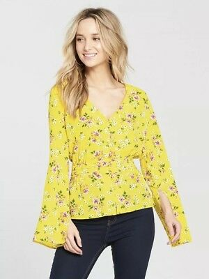 Size 16 Uk New V By Very Floral Print Button Through Blouse - Yellow