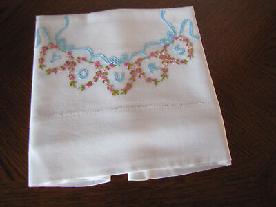 Vintage Single Pillowcase Embroidered Scrolling Aster Hearts YOURS Stunning