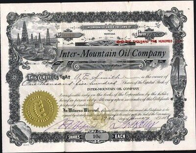 Inter - Mountain Oil Co Of Montana, 1918, Uncancelled Stock Certificate