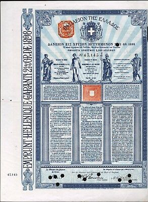 Kingdom Of Greece, 1898, Debt Crisis, Guarteed By France, Great Britian & Russia